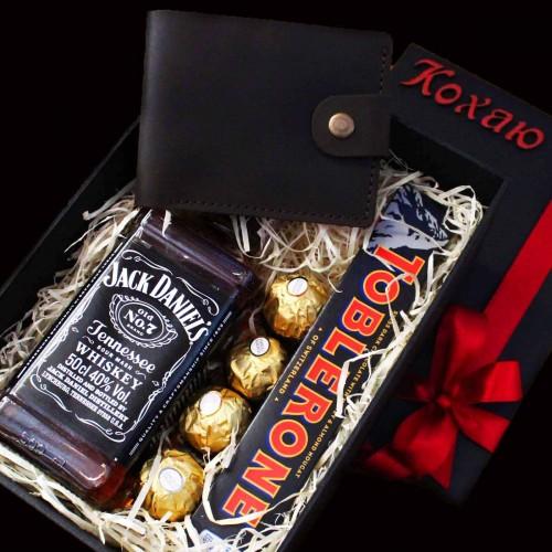 Подарочный набор для мужчин с виски и кожаным портмоне Solid ▶ FRANKLIN -1