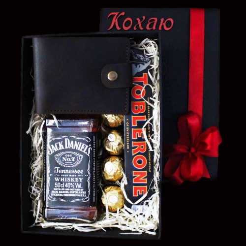 Подарочный набор для мужчин с виски и кожаным портмоне Solid ▶ FRANKLIN -4