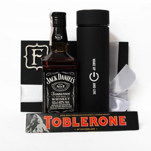Мужской подарочный набор с термосом и виски Wake Up ▶FRANKLIN -1