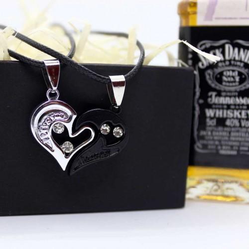 Мужской набор с двумя половинками сердца для нее и него Yin Yang