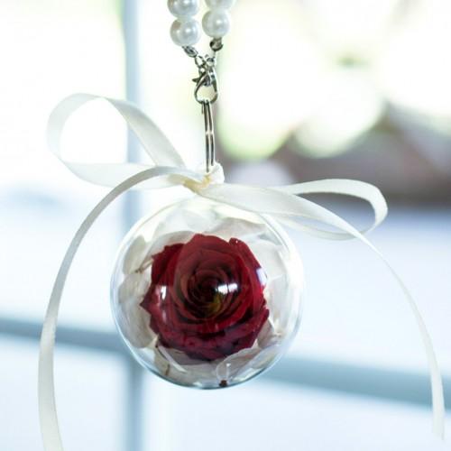 Брелок с долговечной красной розой и белой гортензией-1