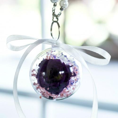 Брелок с долговечной фиолетовой розой и сухоцветом-1