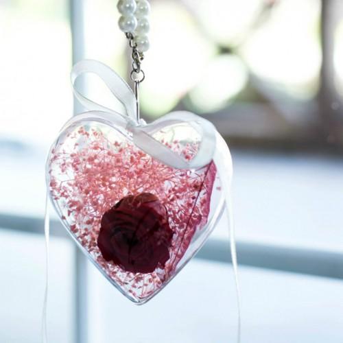 Брелок Сердце с долговечной розой и сухоцветом-1