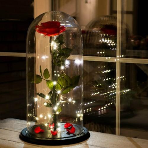 Роза в колбе De Lux 43 см Красная с подсветкой-1