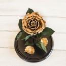 Золотая роза в колбе lux-2