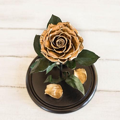 Роза в колбе Lux 30 см Gold-2