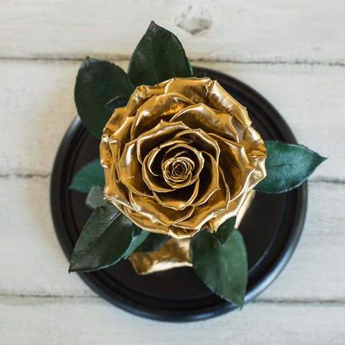 Роза в колбе Lux 30 см Gold-3