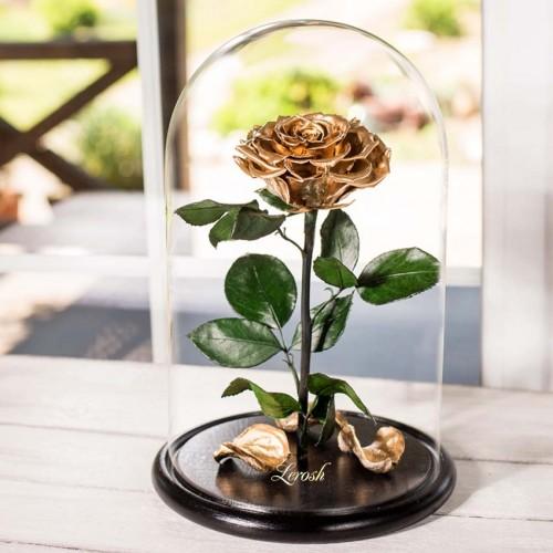 Роза в колбе Lux 30 см Gold-1