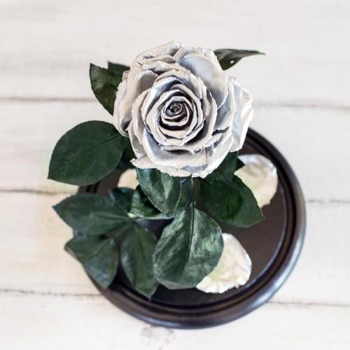 Роза в колбе Lux 30 см Silver-3