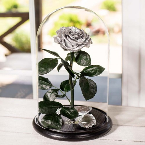 Роза в колбе Lux 30 см Silver-1