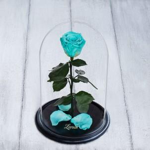 Роза в колбе Standart 33 см Голубая-1