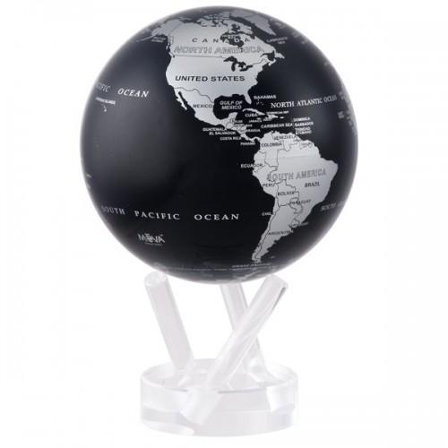 Глобус самовращающийся Политическая карта Black Silver -4