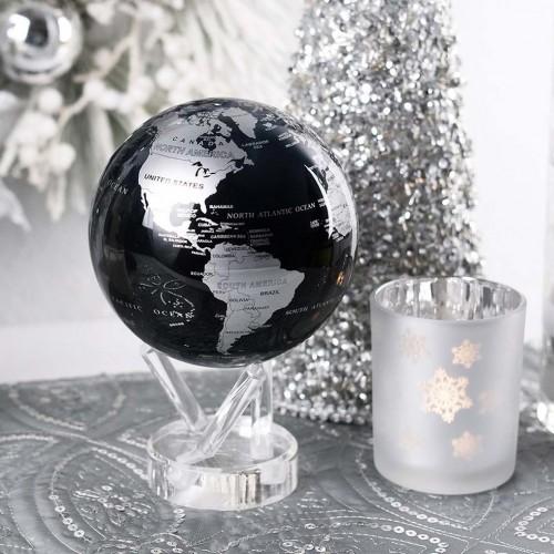 Глобус самовращающийся Политическая карта Black Silver -1