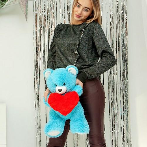 Плюшевый мишка с сердцем Фрэнк Голубой 65 см-3