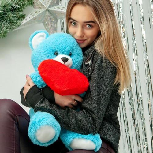 Плюшевый мишка с сердцем Фрэнк Голубой 65 см-2