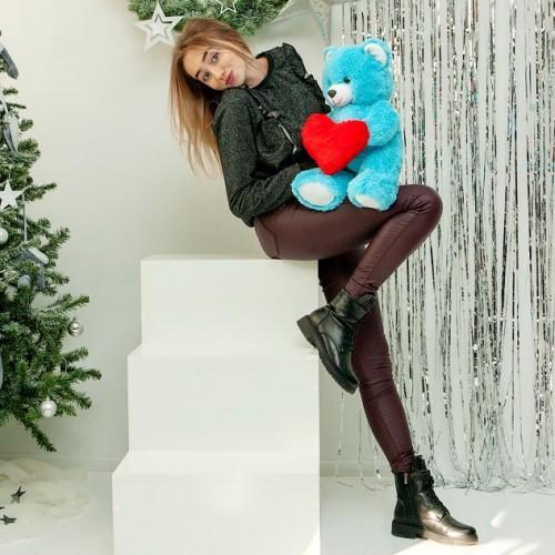 Плюшевый мишка с сердцем Фрэнк Голубой 65 см-4