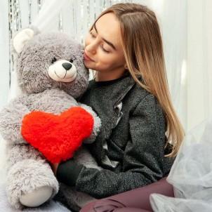 Плюшевый мишка с сердцем Фрэнк Серый 65 см-1