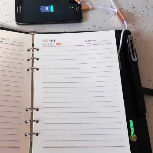 Ежедневник со встроенным PowerBank и системой беспроводной зарядки Black-4