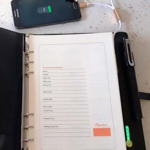 Ежедневник со встроенным PowerBank и системой беспроводной зарядки Black-5