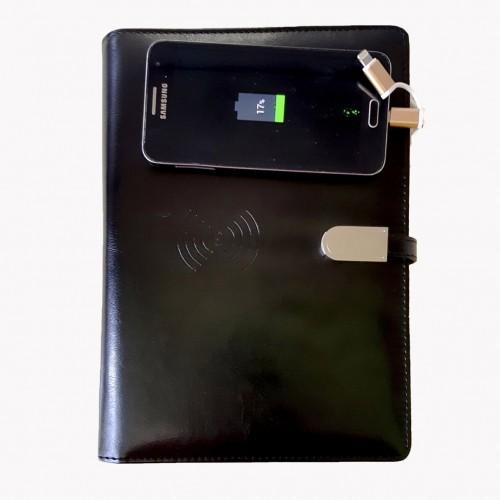 Ежедневник со встроенным PowerBank и системой беспроводной зарядки Black-1