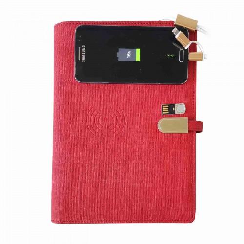 Ежедневник со встроенным PowerBank и системой беспроводной зарядки Red-2