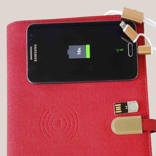 Ежедневник со встроенным PowerBank и системой беспроводной зарядки Red-3