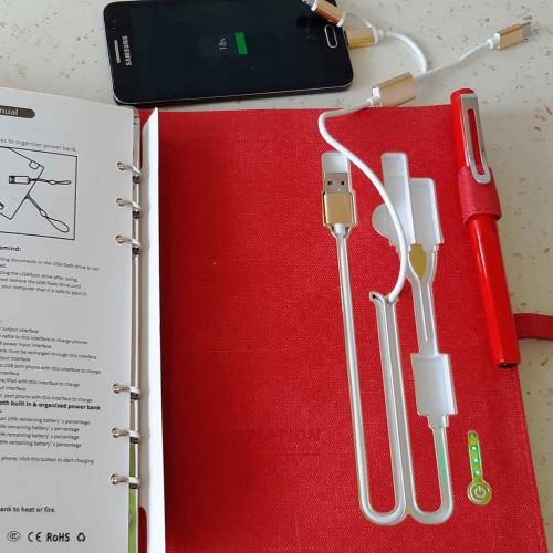 Ежедневник со встроенным PowerBank и системой беспроводной зарядки Red-5