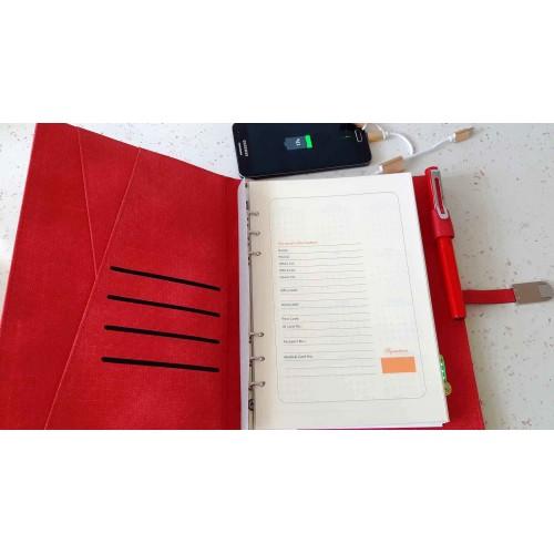Ежедневник со встроенным PowerBank и системой беспроводной зарядки Red-4