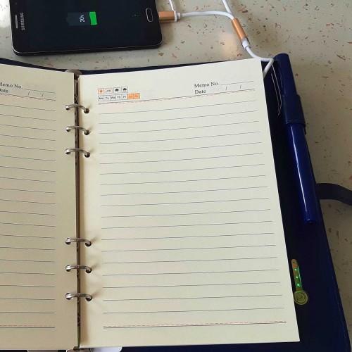 Ежедневник со встроенным PowerBank и системой беспроводной зарядки Blue-4
