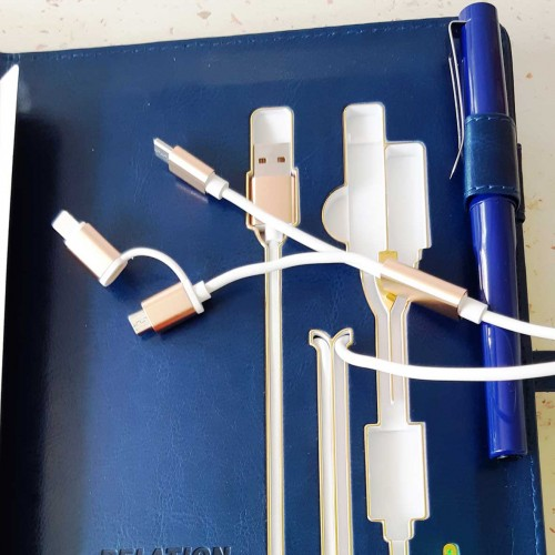 Ежедневник со встроенным PowerBank и системой беспроводной зарядки Blue-6