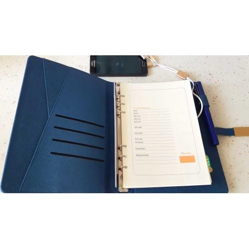 Ежедневник с PowerBank, USB-выходами и флешкой 16 Gb Blue-2