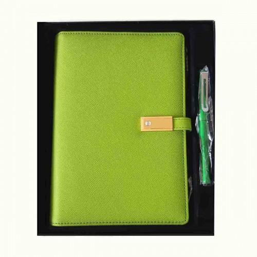 Ежедневник с PowerBank, USB-выходами и флешкой 16 Gb Green -6