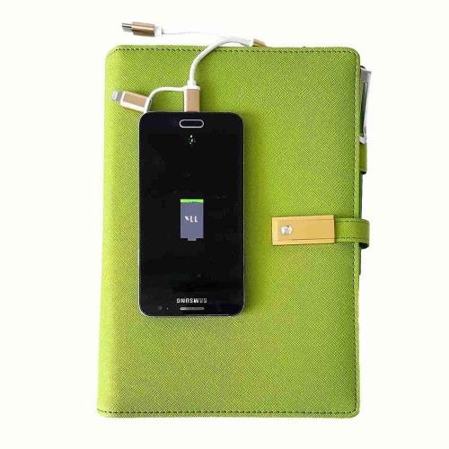 Ежедневник с PowerBank, USB-выходами и флешкой 16 Gb Green -8