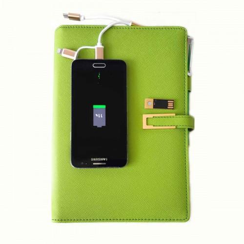 Ежедневник с PowerBank, USB-выходами и флешкой 16 Gb Green -5