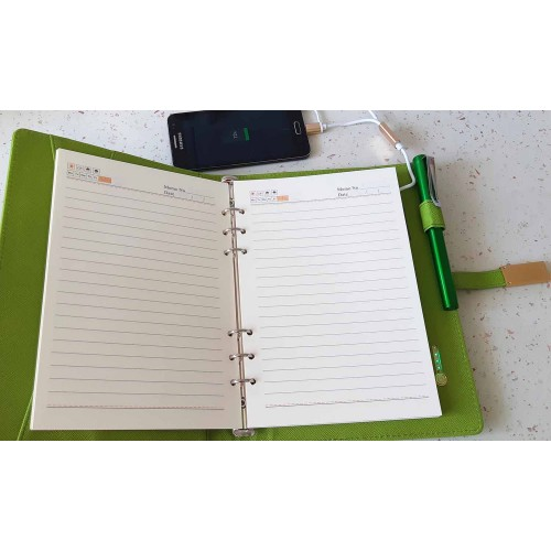 Ежедневник с PowerBank, USB-выходами и флешкой 16 Gb Green -7