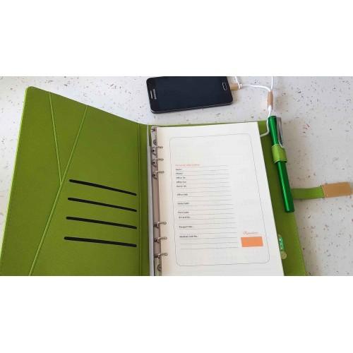 Ежедневник с PowerBank, USB-выходами и флешкой 16 Gb Green -4