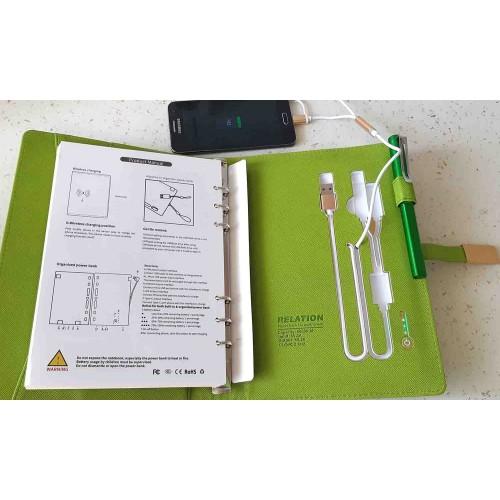 Ежедневник с PowerBank, USB-выходами и флешкой 16 Gb Green -3