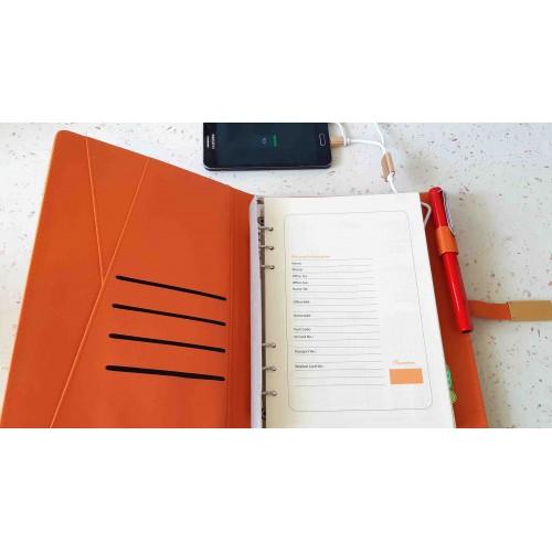 Ежедневник с PowerBank, USB-выходами и флешкой 16 Gb Orange-2
