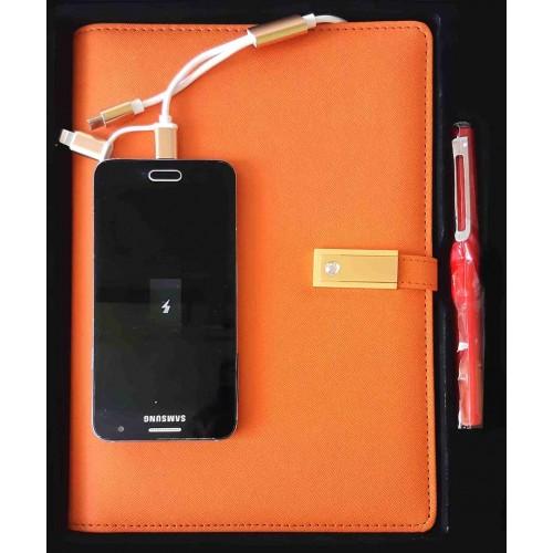 Ежедневник с PowerBank, USB-выходами и флешкой 16 Gb Orange-8