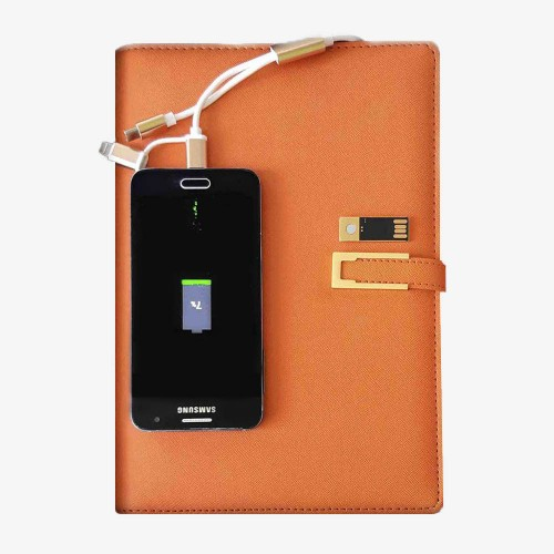 Ежедневник с PowerBank, USB-выходами и флешкой 16 Gb Orange-4