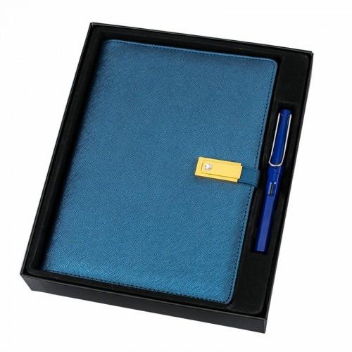 Ежедневник с PowerBank, USB-выходами и флешкой 16 Gb Blue-3