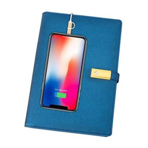 Ежедневник со встроенными PowerBank, USB и флешкой Blue