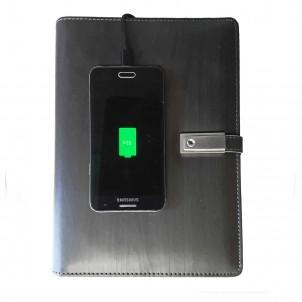 Ежедневник со встроенным PowerBank, USB-выходами и флешкой Gray-1