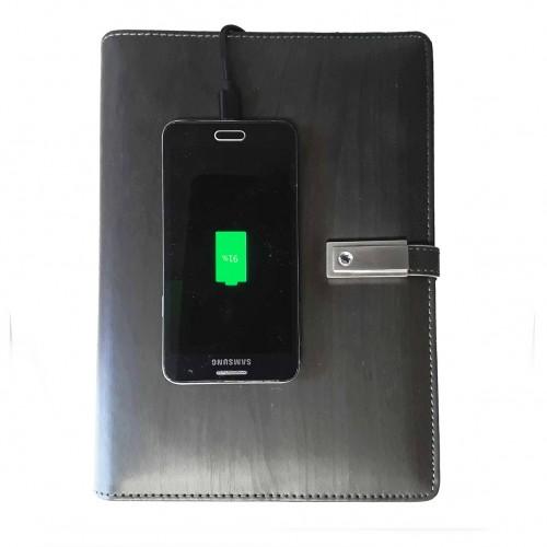 Ежедневник со встроенными PowerBank, USB и флешкой Gray