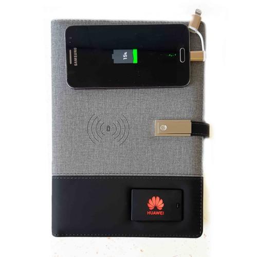 Ежедневник со встроенным PowerBank и системой беспроводной зарядки Huawei Gray-1