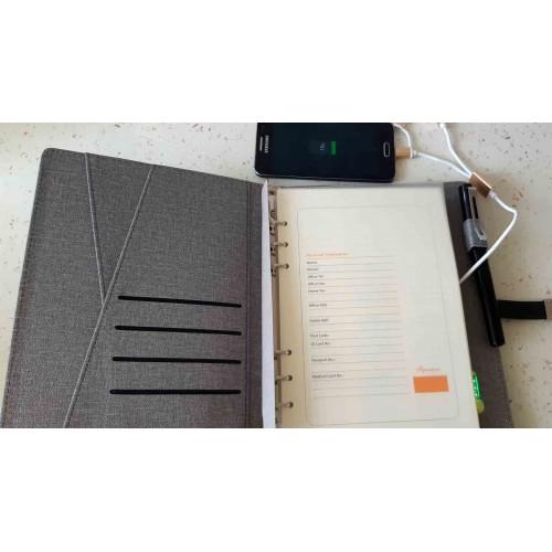 Ежедневник со встроенным PowerBank и системой беспроводной зарядки Huawei Gray-3