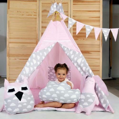 """Детский вигвам """"Нежность"""" розово-серый с подушками-1"""