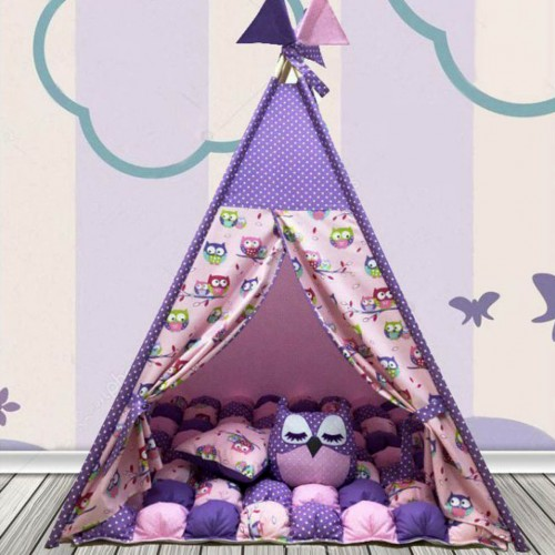 """Детский вигвам """"Бонбон Совы"""" фиолетовый с подушками-1"""