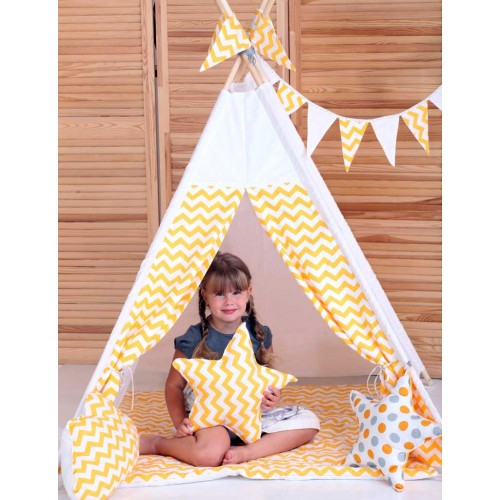 "Детский вигвам ""Желтый зигзаг"" с подушкой-3"