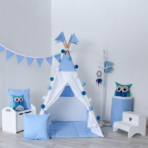 """Детский вигвам """"Закат"""" белый с синим с подушкой-1"""